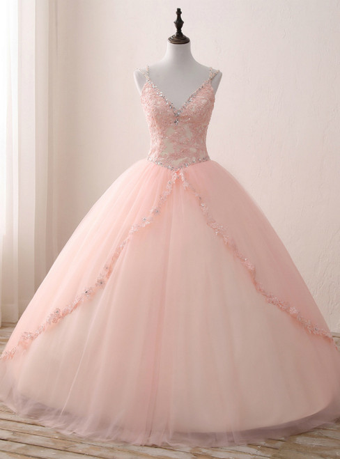 Pink Ball Gown Tulle V-neck Double Straps Appliques Quinceanera Dresses
