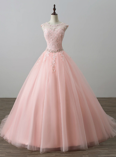 Pink Ball Gown Tulle Appliques Backless Long Sweet 16 Dresses