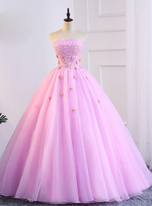 Pink Tulle Strapless Appliques Sweet 16 Quinceanera Dresses With Pearls