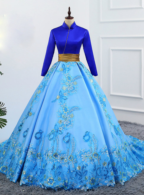 Blue Ball Gown Satin High Neck Backless Long Sleeve Appliques Quinceanera Dresses