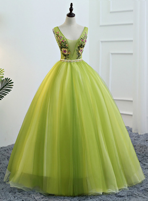 Green Tulle Deep V-neck Embroidery Quinceanera Dresses With Beading