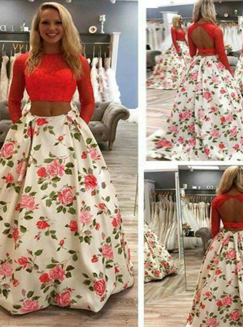 White Print Two Piece Long Sleeve Backless Prom Dress