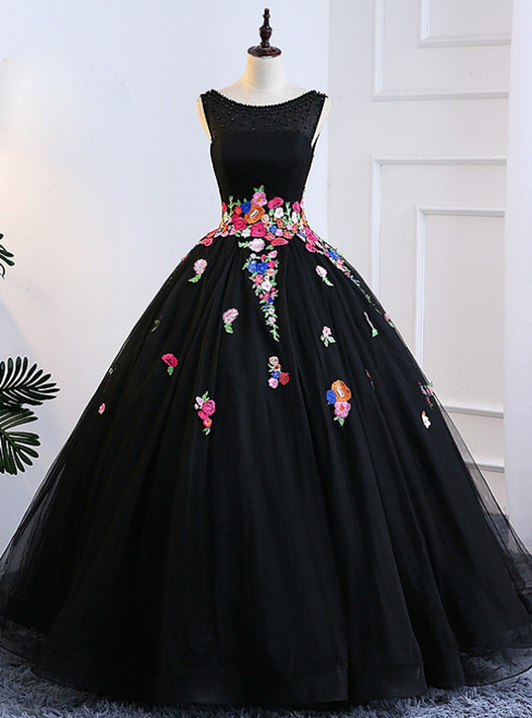 Black Ball Gown Tulle Bateau Backless Appliques Sweet 16 Dresses