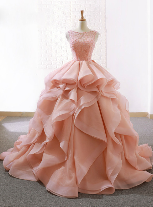 Pink Ball Gown Organza Bateau Bakless Wedding Dress With Beading