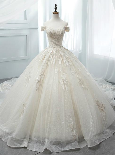 Light Champagne Tulle Sequins Off The Shoulder Appliques Wedding Dress