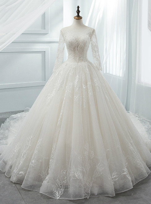 White Ball Gown Scoop Long Sleeve Tulle Wedding Dress With Beading