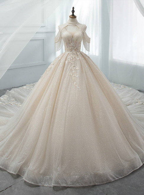 Champagne Ball Gown V-neck Tulle Sequins Appliques Backless Wedding Dress