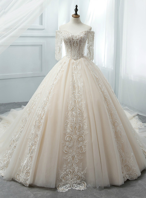 Light Champagne Tulle Short Sleeve Wedding Dress With Beading