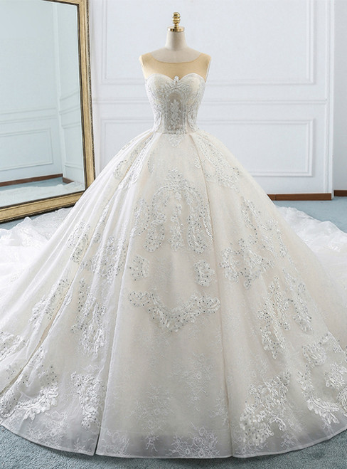 White Ball Gown Appliques Bateau Backless Wedding Dress With Train