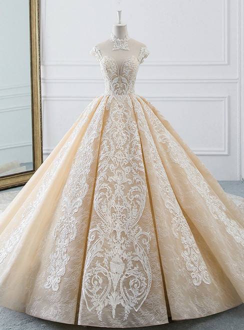 Luxurious Champagne Ball Gown Tulle Lace Appliques Backless High Neck Wedding Dress