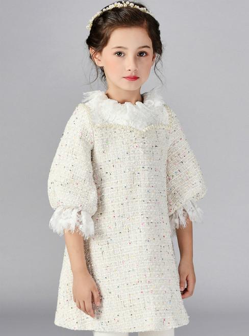 In Stock:Ship in 48 Hours Beige Short Sleeve Short Flower Girl Dress