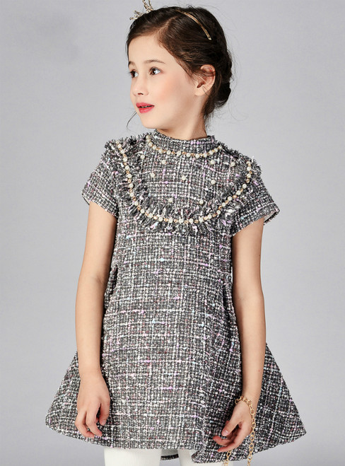In Stock:Ship in 48 Hours Dark Gray Short Sleeve Flower Girl Dress With Pearls