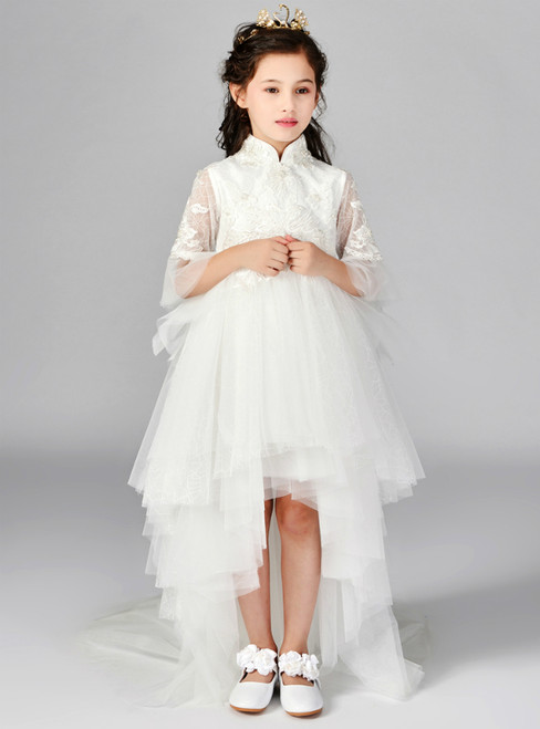 In Stock:Ship in 48 Hours  White Tulle Lace Hi Lo Short Sleeve Girl Dress