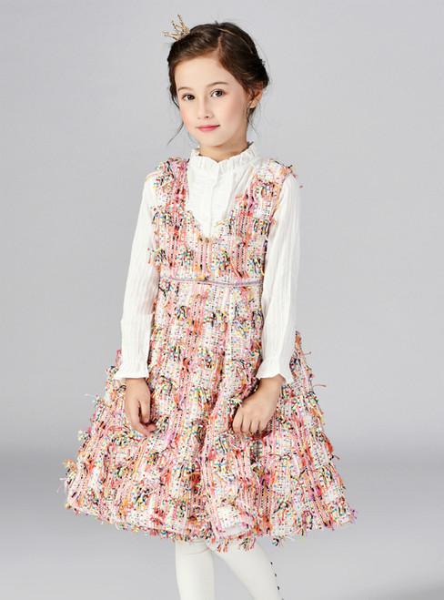 In Stock:Ship in 48 Hours Multicolor V-neck Knee Length Flower Girl Dress