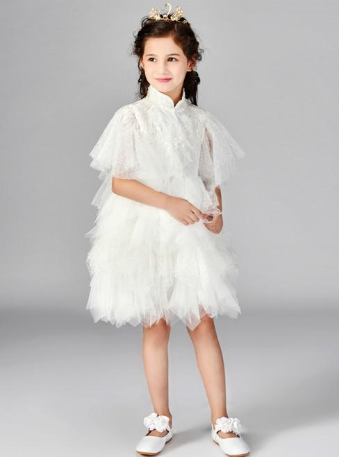 In Stock:Ship in 48 Hours White Tulle Puff Sleeve Flower Girl Dress