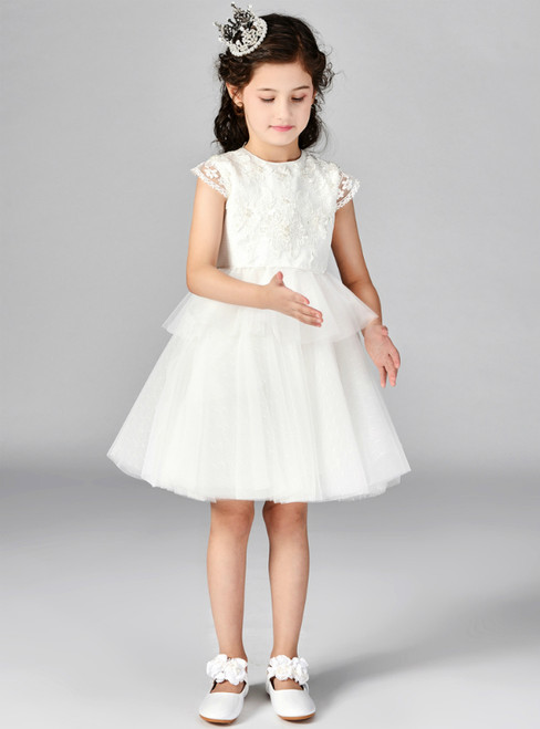 74c767406 In Stock:Ship in 48 Hours White Tulle Puff Sleeve Flower Girl Dress