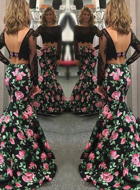 Mermaid Two Piece Satin Print Long Sleeve Backless Prom Dress