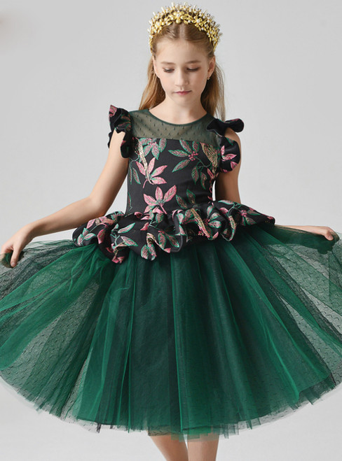 In Stock:Ship in 48 Hours Green Tulle Embroidery Flower Girl Dress