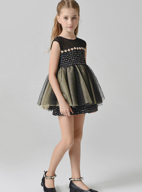 In Stock:Ship in 48 Hours Black Short Tulle Flower Girl Dress With Pearls