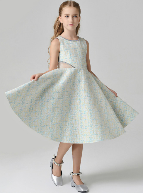 In Stock:Ship in 48 Hours Green A-Line Knee Length Flower Girl Dress