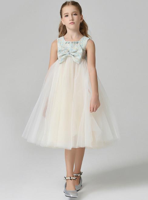 In Stock:Ship in 48 Hours Yellow Tulle High Waist Flower Girl Dress