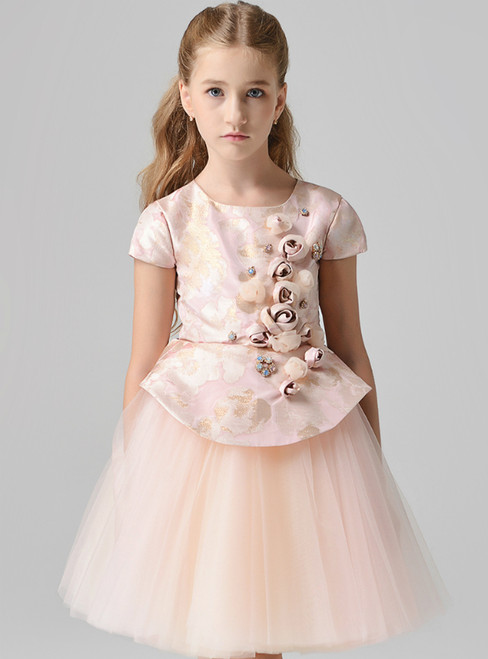 In Stock:Ship in 48 Hours  Pink Tulle Cap Sleeve Flower Girl Dress With Hand Flower