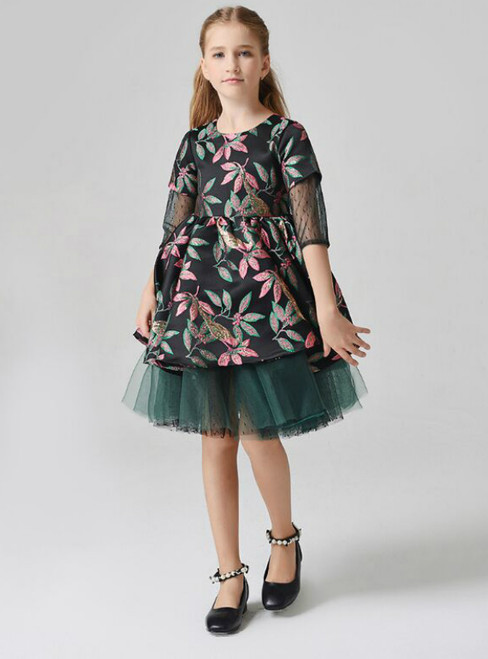 In Stock:Ship in 48 Hours Green Tulle Embroidery Short Sleeve Flower Girl Dress