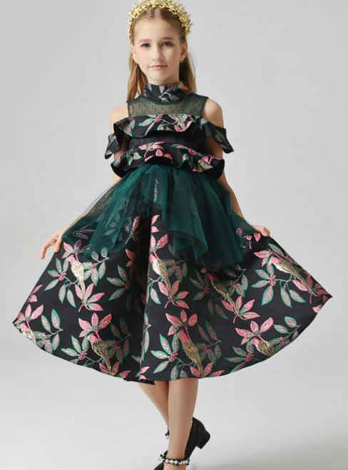 In Stock:Ship in 48 Hours Green Tulle Embroidery High Neck Flower Girl Dress