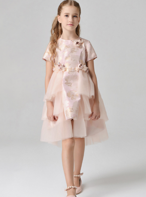 In Stock:Ship in 48 Hours Pink Tulle Hi Lo Short Sleeve Flower Girl Dress