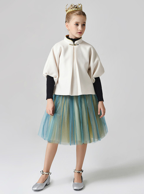 In Stock:Ship in 48 Hours Ivory And Green Puff Sleeve Flower Girl Dress