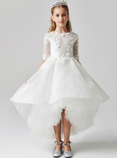 In Stock:Ship in 48 Hours White Hi Lo Tulle Short Sleeve Appliques Flower Girl Dress