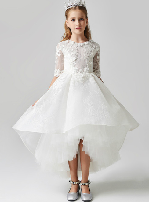 In Stock:Ship in 48 Hours White Hi Lo Tulle Short Sleeve Appliques Flower Girl Dress