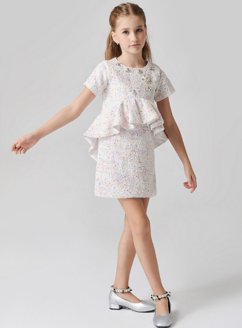 In Stock:Ship in 48 Hours Ligth Pink Short Sleeve Girl Dress With Crystal
