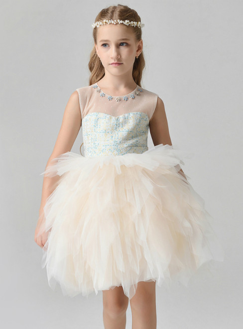 In Stock:Ship in 48 Hours Yellow Tulle Short Flwoer Girl Dress With Bead