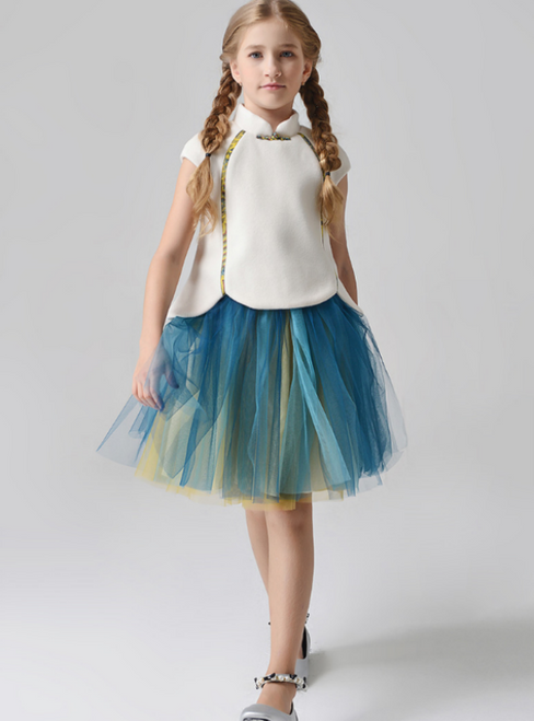 In Stock:Ship in 48 Hours Ivory And Green Tulle High neck Flower Girl Dress