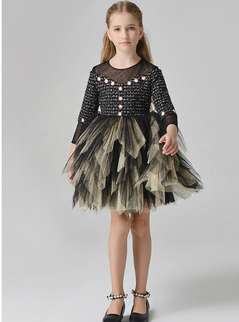 In Stock:Ship in 48 Hours Black Tulle Long Sleeve Girl Dress With Bead