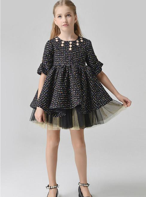 In Stock:Ship in 48 Hours Black Half Sleeve Mini Flower Girl Dress