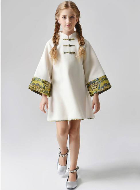 In Stock:Ship in 48 Hours Ivory Long Sleeve Flower Cheongsam Dress
