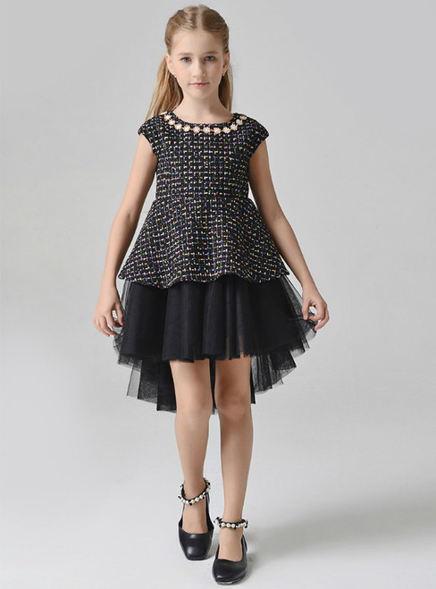 In Stock:Ship in 48 Hours Black Hi Lo Cap Sleeve Flower Girl Dress With Pears