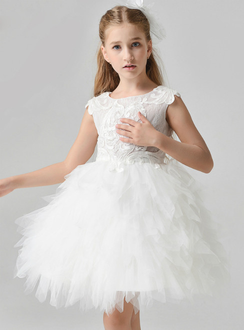 In Stock:Ship in 48 Hours White Tulle Lace Appliques Flower Girl Dress