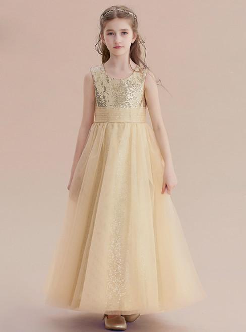 A-Line Gold Tulle Sequins Ankle Length Princese Flower Girl Dress