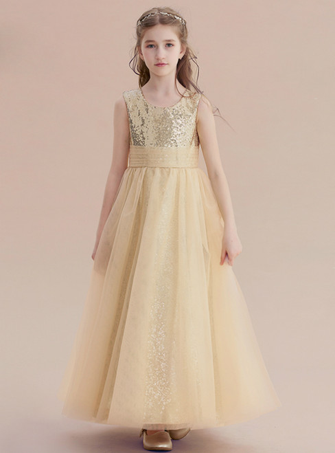 A-Line Gold Tulle Sequins Ankle Length Princese Flower Girl Dress