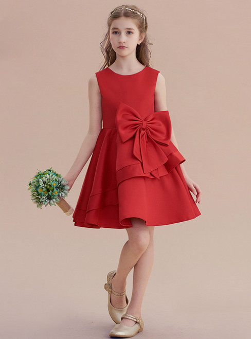 Simple A-Line Red Satin Sleeveless Flower Girl Dresss With Bow