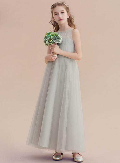 A-Line Gray Tulle Halter Sleeveless Ankle Length Flower Girl Dress