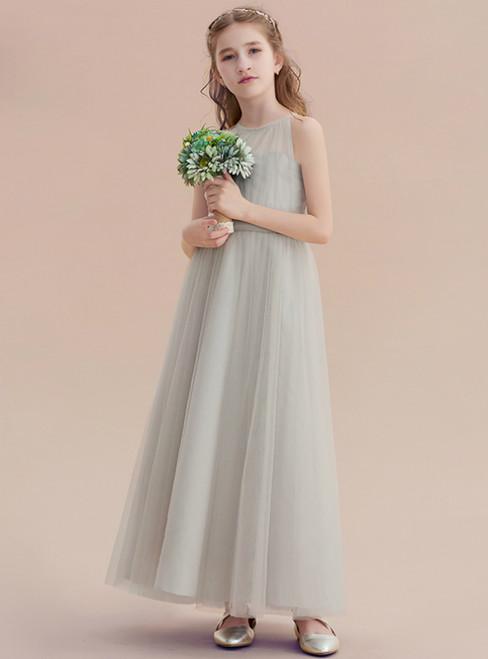 A-Line Gray Tulle Halter Sleeveless Ankle Length Flower Girl Dress