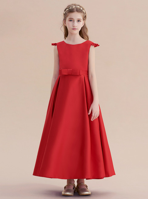 A-line Red Satin Cap Sleeve Flwoer Girl Dress With Bow