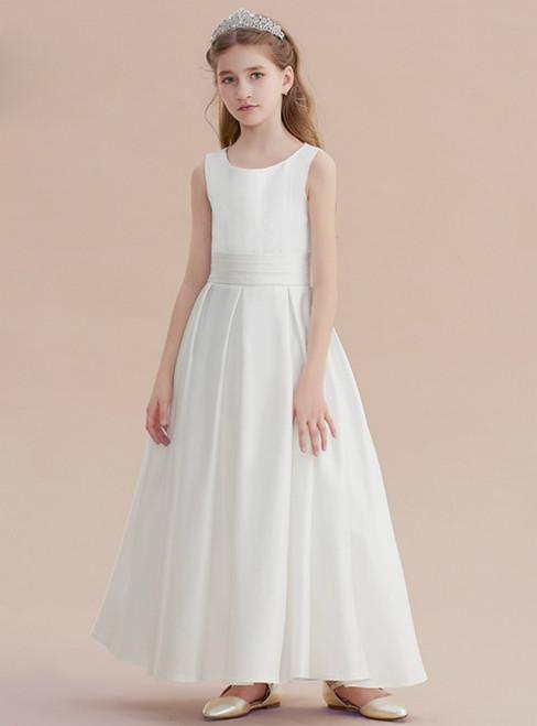 21d218e4d6a5b A-Line Lovely White Satin Flower Girl Dress With Bow
