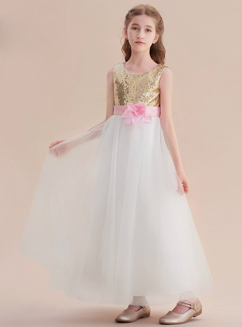 A-Line White Tulle Gold Sequins Long Flower Girl Dress With Flower
