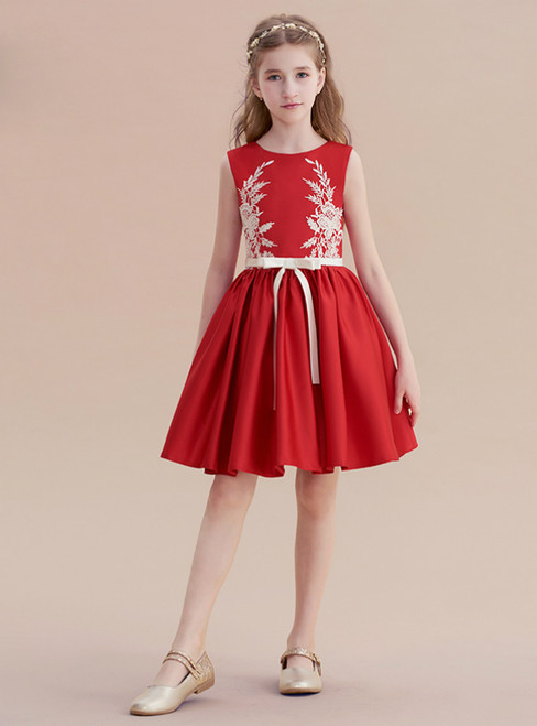 A-Line Burgundy Appliques Short Knee Length Flower Girl Dress With Bow