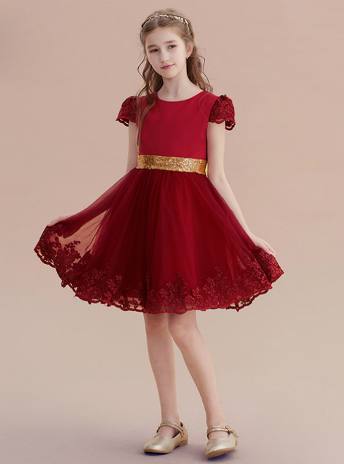 A-Line Burgundy Tulle Lace Appliques Cap Sleeve Girl Dress With Bow